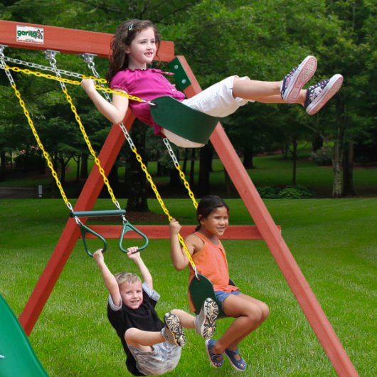 Kids swinging on gorilla double down swing set