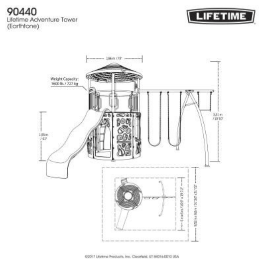 LIFETIME Adventure Tower Metal Swing Set Dimensions