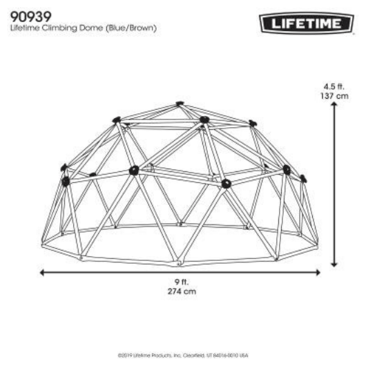 Lifetime 9ft Climbing Dome  - dimensions
