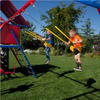 Image of Lifetime Double Slide Deluxe Playset - boys swinging