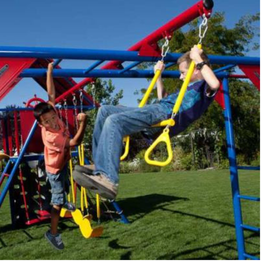 Lifetime Double Slide Deluxe Playset - trapeze and monkey bars