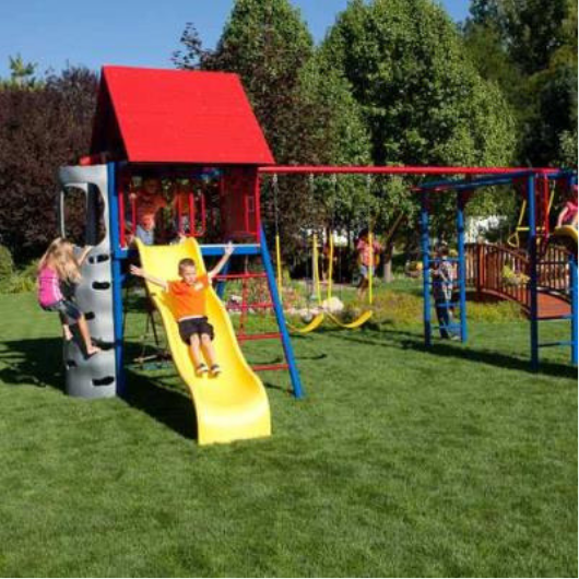 Lifetime Double Slide Deluxe Playset - primary colors - kids playing