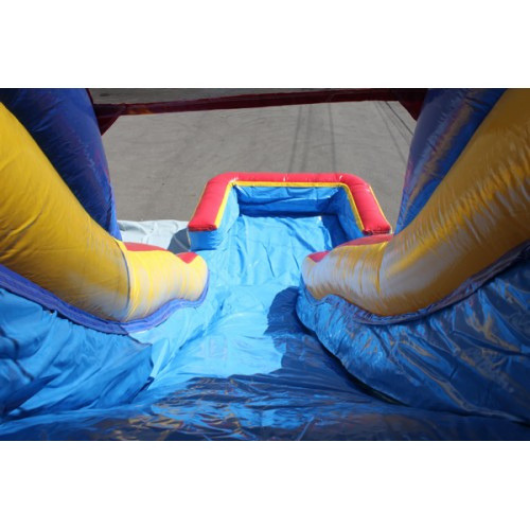 18'H Double Dip Inflatable Slide Wet/Dry (Red and Blue) - slide