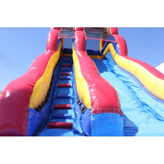 18'H Double Dip Inflatable Slide Wet/Dry (Red and Blue) - stairs