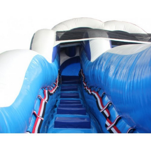 18'H Double Dip Inflatable Slide Wet n Dry (Blue)