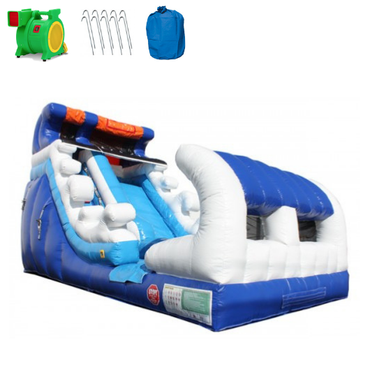 Inflatable Slide - 15'H Tidal Wave Inflatable Slide Wet/Dry - The Outdoor Play Store