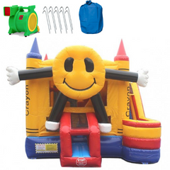 Happy Face 4-In-1 Commercial Bounce House Combo Wet n Dry
