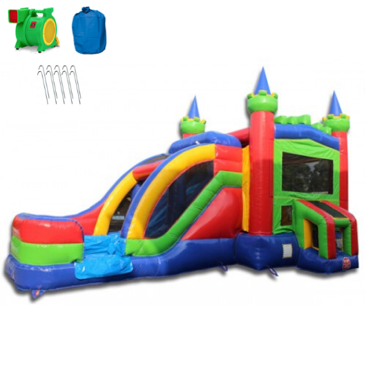 Commercial Bounce House - 2-Lane King Castle Combo Wet n Dry - The Bounce House Store