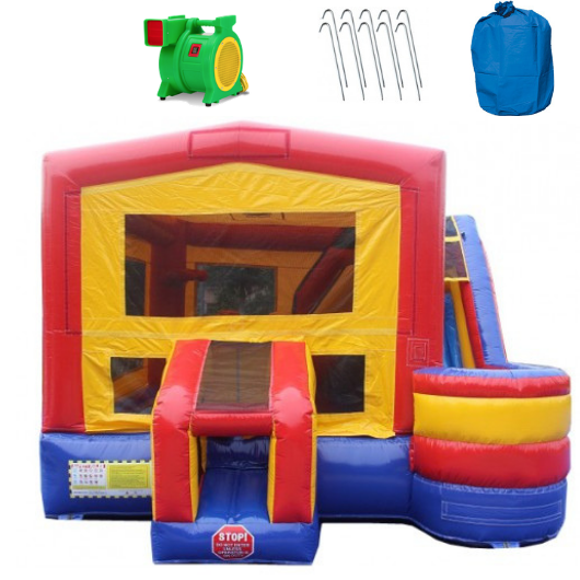 4-In-1 Commercial Bounce House Combo - Wet n Dry