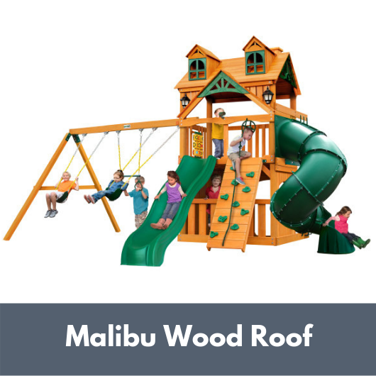 Mountaineer Swing Set Clubhouse with Malibu Wood Roof