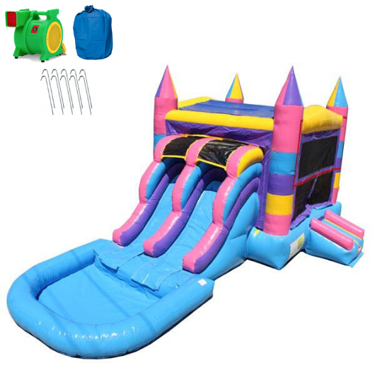 Multi Color Commercial Bounce House Combo with Pool wet n dry