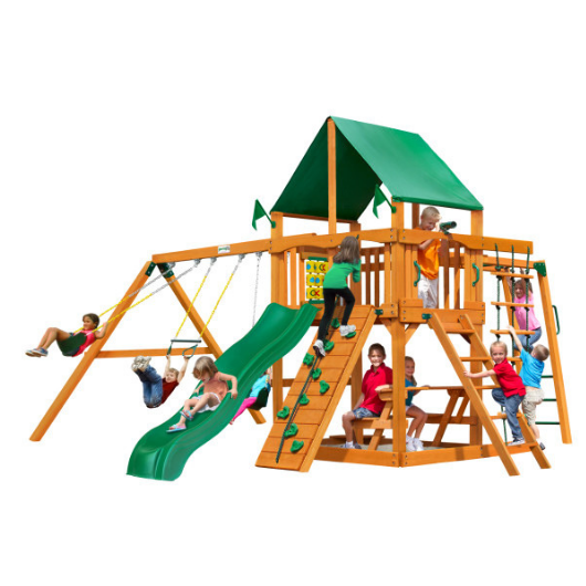 Gorilla Playsets Navigator Wooden Swing Set with Deluxe Vinyl Green Canopy