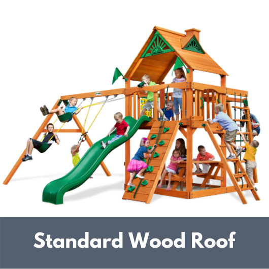 Gorilla Playsets Navigator Wooden Swing Set with Standard Wood Roof