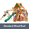 Image of Gorilla Playsets Navigator Wooden Swing Set with Standard Wood Roof