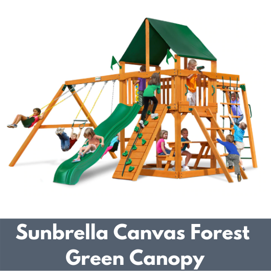 Gorilla Playsets Navigator Wooden Swing Set with Sunbrella Canvas Forest Green Canopy