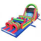 Inflatable Slide - 45'L x 12'H Wet n Dry Obstacle Course Green - The Bounce House Store