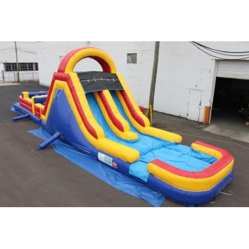 Inflatable Slide - 45'L x 12'H Wet n Dry Obstacle Course Red - The Bounce House Store
