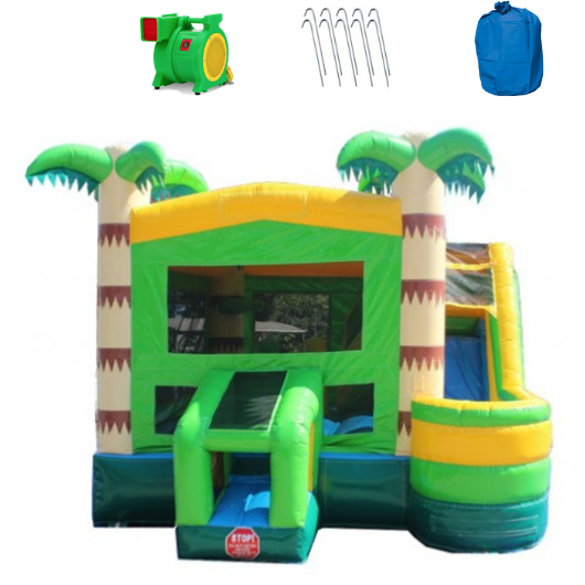 Palm Tree Castle 4-In-1 Commercial Bounce House Combo Wet n Dry