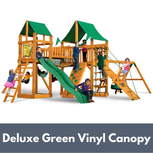 Gorilla Playsets Pioneer Peak Wooden Swing Set with Deluxe Green Vinyl Canopy