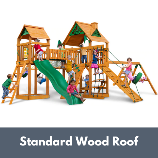 Gorilla Playsets Pioneer Peak Wooden Swing Set with Standard Wood Roof