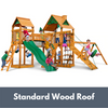 Image of Gorilla Playsets Pioneer Peak Wooden Swing Set with Standard Wood Roof