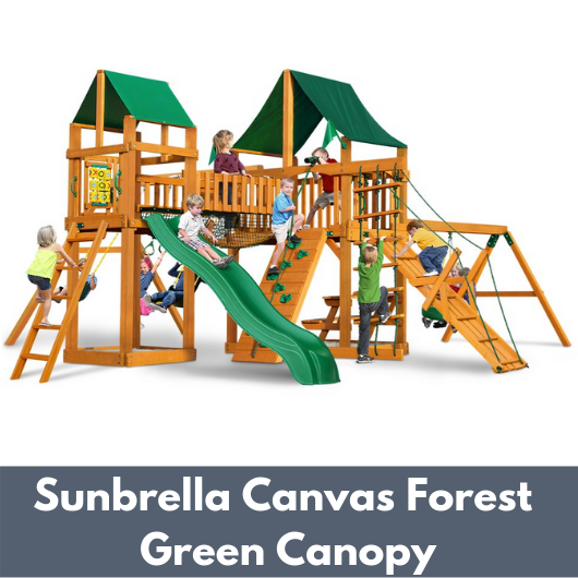 Gorilla Playsets Pioneer Peak Wooden Swing Set with Sunbrella Canvas Forest Green Canopy