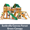 Image of Gorilla Playsets Pioneer Peak Wooden Swing Set with Sunbrella Canvas Forest Green Canopy