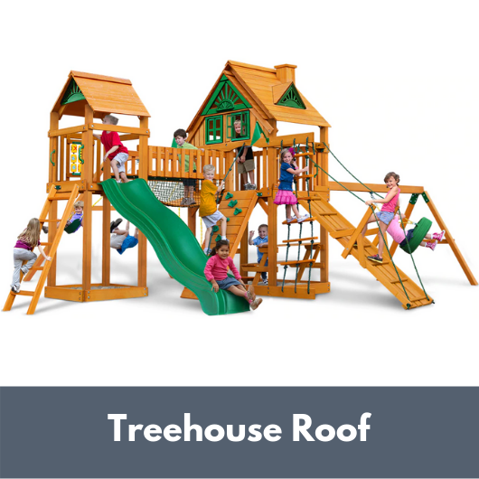 Gorilla Playsets Pioneer Peak Wooden Swing Set with Wood Treehouse Roof