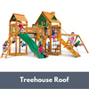 Image of Gorilla Playsets Pioneer Peak Wooden Swing Set with Wood Treehouse Roof