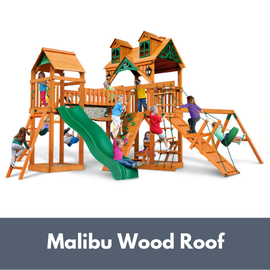 Gorilla Playsets Pioneer Peak Wooden Swing Set with Malibu Wood Roof