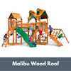 Image of Gorilla Playsets Pioneer Peak Wooden Swing Set with Malibu Wood Roof