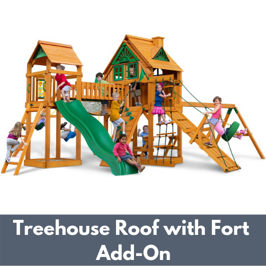 Gorilla Playsets Pioneer Peak Wooden Swing Set with Wood Treehouse Roof with Fort Add-On
