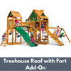 Image of Gorilla Playsets Pioneer Peak Wooden Swing Set with Wood Treehouse Roof with Fort Add-On