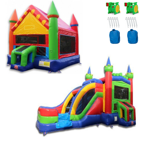 Rainbow Commercial Bounce House Inflatable Package