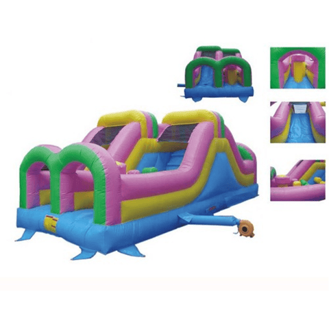 Commercial Bounce House - KidWise Commercial Grade 26' Double Challenger Inflatable Slide - The Bounce House Store