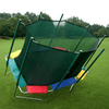 Image of Side view of 9' x 14' Rectagon Magic Circle Trampoline with Safety Enclosure