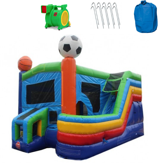 4-In-1 Sports Commercial Bounce House Combo Wet n Dry