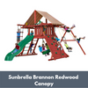 Image of Gorilla Sun Climber Wooden Swing Set with Sunbrella Brannon Redwood Canopy