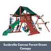 Image of Gorilla Sun Climber Wooden Swing Set with Sunbrella Canvas Forest Green Canopy