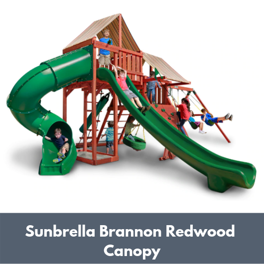 Gorilla Playsets Sun Climber Deluxe Wooden Swing Set with Sunbrella Canopy