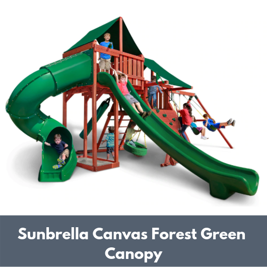 Gorilla Playsets Sun Climber Deluxe Wooden Swing Set with Sunbrella Canvas Forest Green Canopy