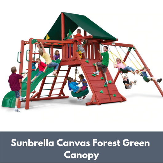 Gorilla Sun Climber Wooden Swing Set with Sunbrella Canvas Forest Green Canopy and Monkey Bars