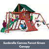 Image of Gorilla Sun Climber Wooden Swing Set with Sunbrella Canvas Forest Green Canopy and Monkey Bars