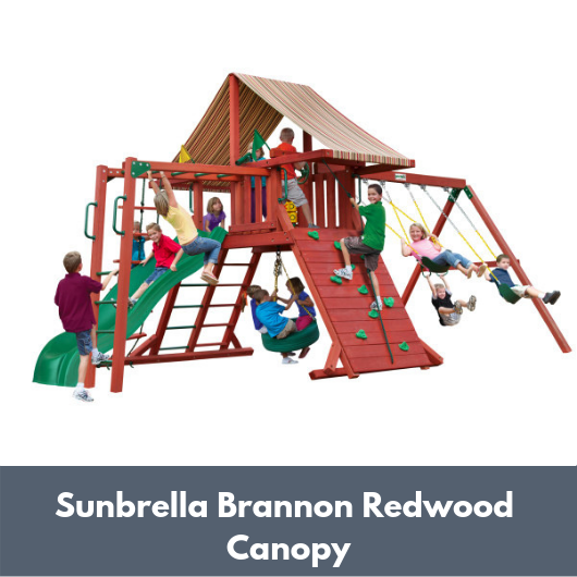 Gorilla Sun Climber Wooden Swing Set with Sunbrella Brannon Redwood Canopy and Monkey Bars