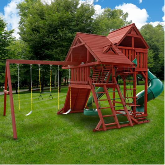 Gorilla Playsets Sun Palace Deluxe Wooden Swing Set Outside