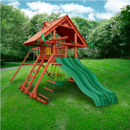 Gorilla Sun Palace Extreme Wooden Swing Set outside