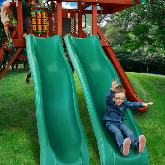 Boy on Gorilla Dual Alpine Wave Slide