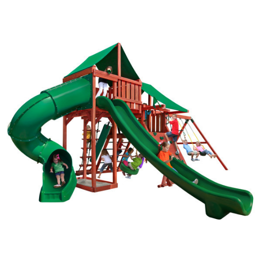 Gorilla Playsets Sun Valley Deluxe Wooden Swing Set with Deluxe Green Vinyl Canopy