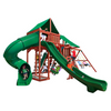 Image of Gorilla Playsets Sun Valley Deluxe Wooden Swing Set with Deluxe Green Vinyl Canopy
