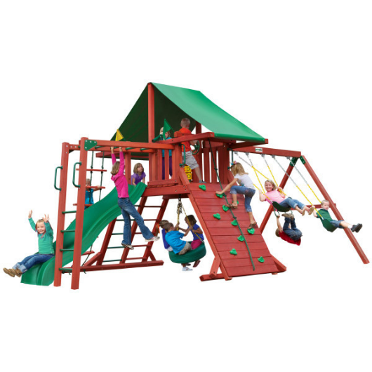 Gorilla Playsets Sun Valley Wooden Swing Set Green Canopy